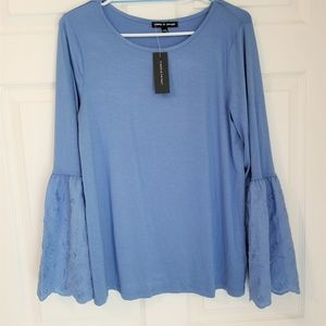 Cable & Gauge Knit Top NWT Size Large Blue
